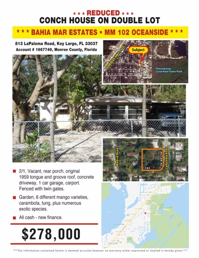 813 La Paloma Road, Key Largo, FL 33037 - #: 581983